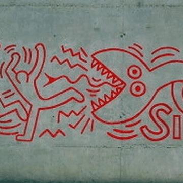 Artist Keith Haring graffiti in El Raval district