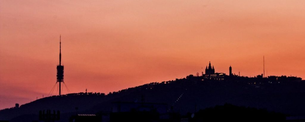 Tibidabo Mountain at sunset (Barcelona, Spain)