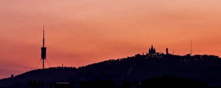 Tibidabo Mountain at sunset (Barcelona, Spain)