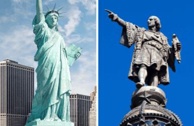 Barcelona vs New York City: Columbus statue vs Statue of Liberty