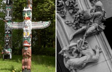 Vancouver versus Barcelona sculptures