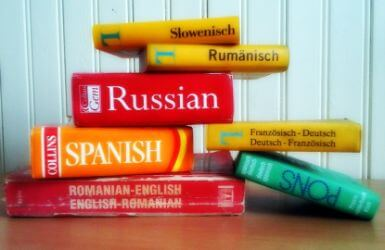 Pile of language dictionnaries