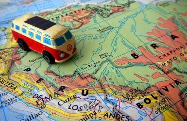 Map of South America with toy Volkswagen van