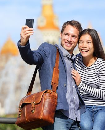 Couple taking a selfie during our multi-day trips from Barcelona