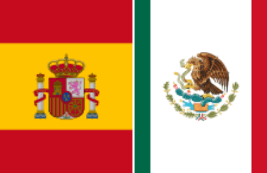 Mexico and Spain Flag comparison