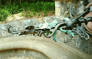 Dragon Fountain in Palau Reial Gardens