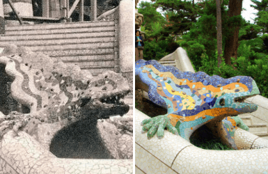 The Gaudi Dragon in Park Guell, now and then