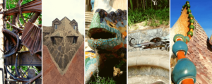 Images of Gaudi Dragons in Barcelona
