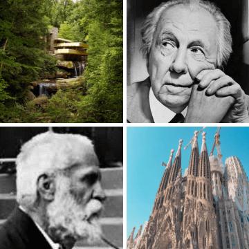 Architects Antoni Gaudi and Frank Lloyd Wright