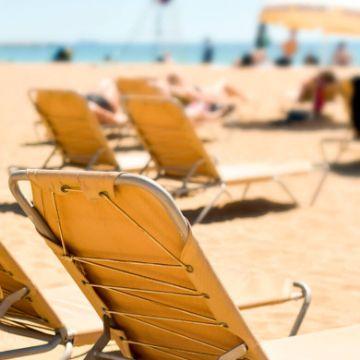 Beach in July in Barcelona