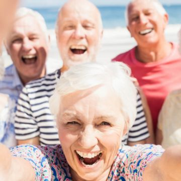 Senior citizens with limited mobility on vacation