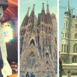 Collage of Antoni Gaudi Works. Barcelona, Spain and abroad.