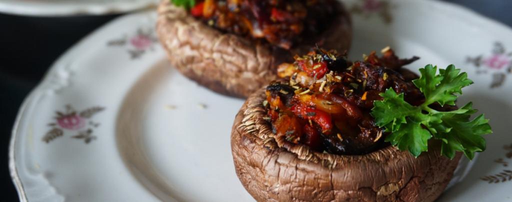 spanish stuffed mushrooms tapas serving