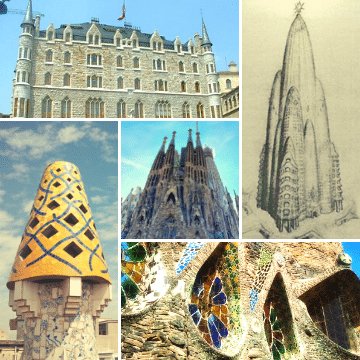 Collage of Antoni Gaudi Works in Barcelona and the rest of Spain
