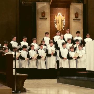 Escolania de Montserrat Choir performing in the Basilica