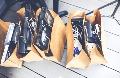 Shopping bags full with Barcelona (Spain) souvenirs
