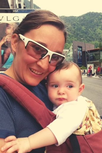 Marta's sister-in-law with Marta's baby during a day trip from Barcelona to Andorra