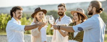 Happy travelers in a barcelona cava tour