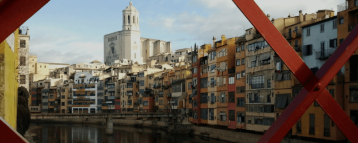 View of the Girona Cathedral from a bridge